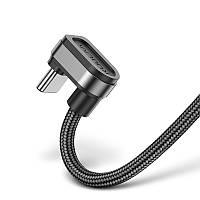 U-подібний ігровий кабель KUULAA Game 180° (1m) USB for Type-C провід швидкої зарядки 2.1 A Чорний (KL-X11), фото 1