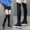 Женские сапоги выше колена, весна и осень 2020, новые ботинки на тонком каблуке с толстой подошвой, зимние эластичные ботинки на высоком каблуке