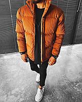 Чоловіча велюрова куртка на синтепоні коричнева