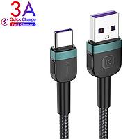 Кабель USB to Type-C (1m) 3A Quick Charge дата провід швидкої зарядки і синхронізації телефону для смартфона, фото 1