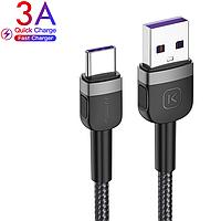 Кабель USB to Type-C (2m) 3A Quick Charge дата провід швидкої зарядки і синхронізації телефону для смартфона, фото 1