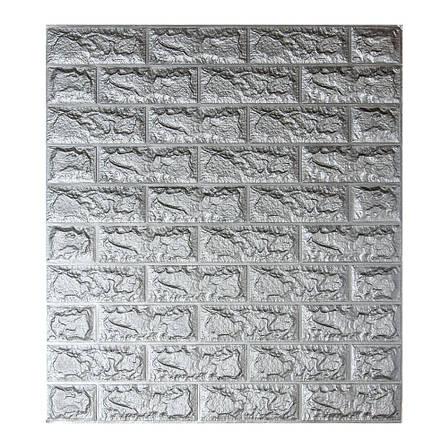 Декоративная 3D панель самоклейка под кирпич Серебро 700х770х5мм, фото 2