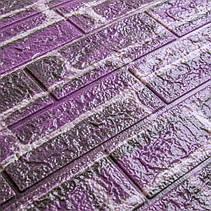 Декоративная 3D панель самоклейка под кирпич фиолетовый Екатеринославский 700x770x5мм, фото 2