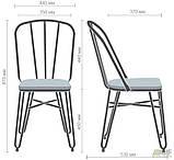 Металлический стул Clapton черный с деревянным сидением гевея цвет под орех, фото 2