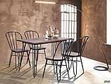 Металлический стул Clapton черный с деревянным сидением гевея цвет под орех, фото 8