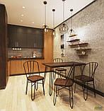 Металлический стул Clapton черный с деревянным сидением гевея цвет под орех, фото 9