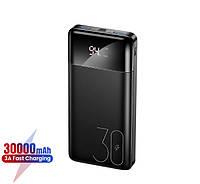 Зовнішній акумулятор Power Bank 30000 mAh USB (QC3.0+PD) портативний зарядний пристрій УМБ з LED дисплеєм Usams US-CD103 PB38 Black, фото 1
