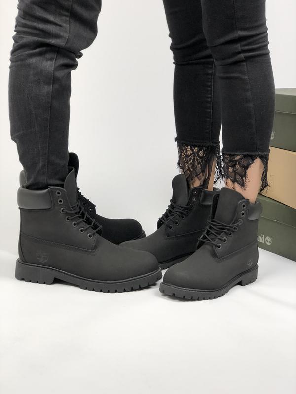 Мужские ботинки Timberland в стиле Тимберленд Черные (Реплика ААА+)