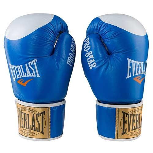 Боксерские перчатки кожаные синие 8oz Everlast PRO STAR