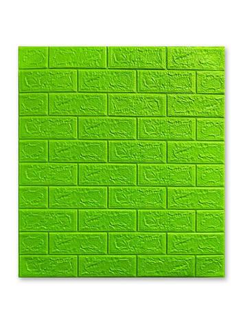 Самоклеющаяся декоративная 3D панель Кирпич Зеленый 700x770x5мм, фото 2