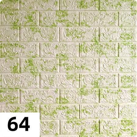 Декоративная 3D панель самоклейка под кирпич Зеленый мрамор 700x770x5мм, фото 2