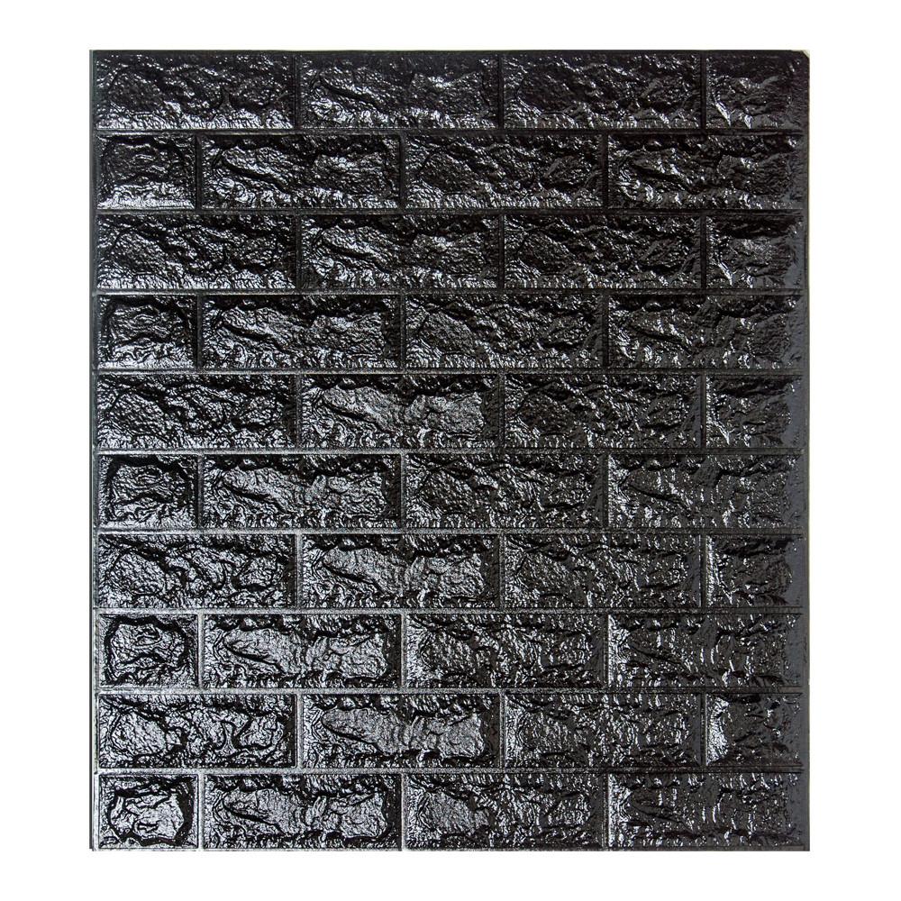 Декоративная 3D панель самоклейка под кирпич Черный 700x770x5мм