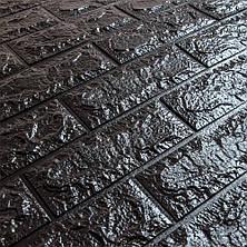 Декоративная 3D панель самоклейка под кирпич Черный 700x770x5мм, фото 3
