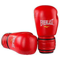 Боксерские перчатки кожаные красные 10oz Everlast ProFight ( Bazari), фото 2