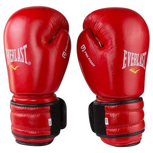 Боксерские перчатки кожаные красные 10oz Everlast ProFight ( Bazari)
