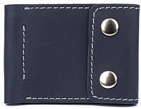 Мужское надежное ультра тонкое кожаное портмоне с зажимом для купюр Black Brier П-16-97 темно-синий