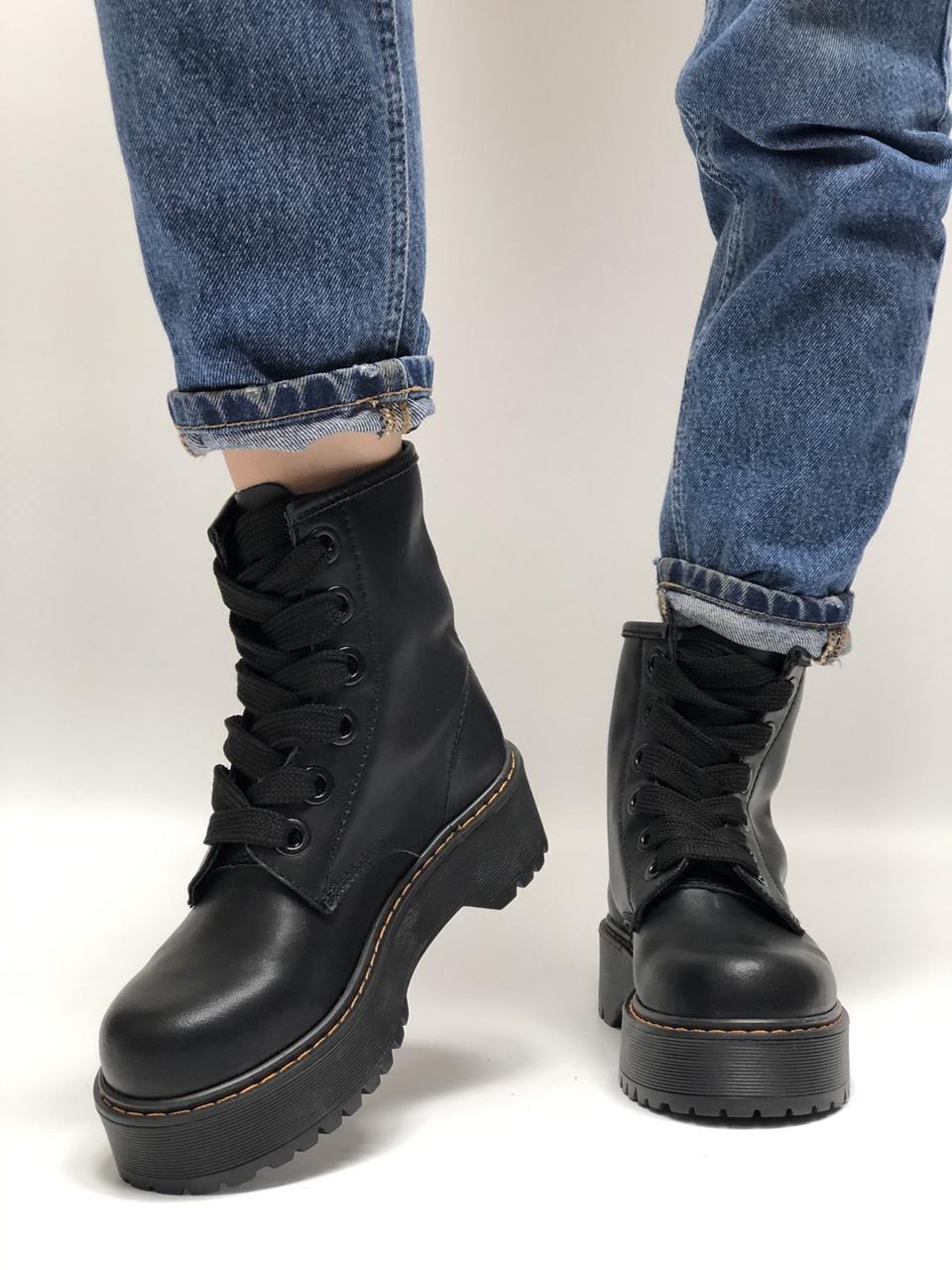 Жіночі черевики Dr Martens Molly в стилі Доктор Мартінс ЧОРНІ (Репліка ААА+)