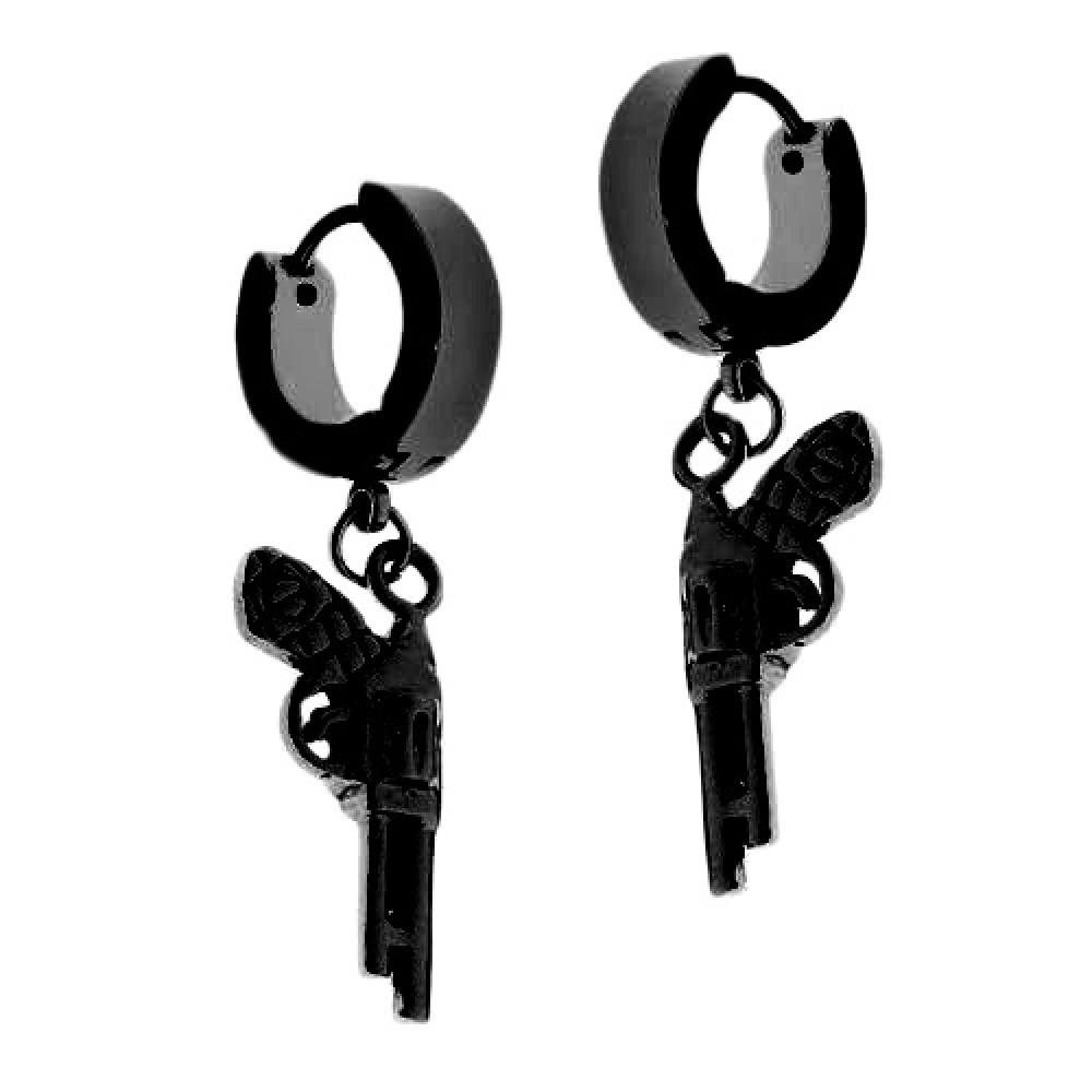 Черные стальные серьги кольца с пистолетом 176326