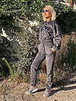 Жіночий стильний вельветовий костюм з укороченим верхом, фото 1