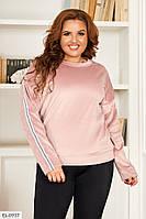 Джемпер женский модный с длинными рукавами из велюра большие размеры 50-60 арт 0067