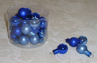 Новогодние стеклянные шарики 1,5 см 4 шт (разные)
