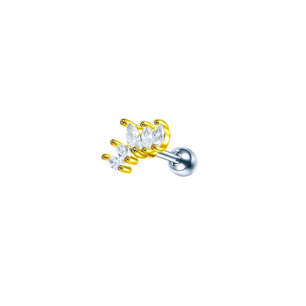 Серьга стальная золотая корона с овальными кристаллами 176332