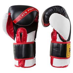 Боксерские перчатки черно-белые 12oz Let'sFight BWS, FLEX, 3077, фото 2
