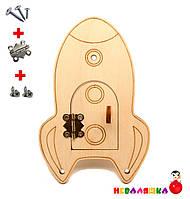 Заготовка для Бизиборда Ракета с Дверкой 13 см Дерев'яна Ракетка для Бізіборда, фото 1