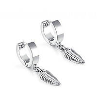 Серьги кольца стальные с подвеской перо 176334