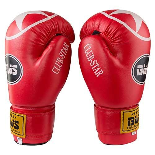Боксерские перчатки красные 12oz BWS ClubStar, PU, 3077