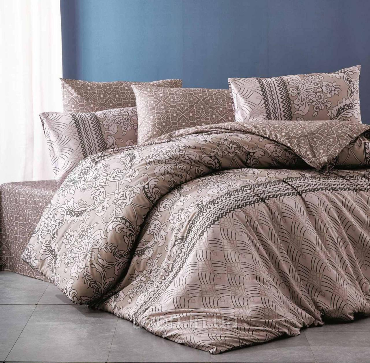 Комплект постельного белья из фланели ТМ Belizza Sante kahve Двуспальный Евро