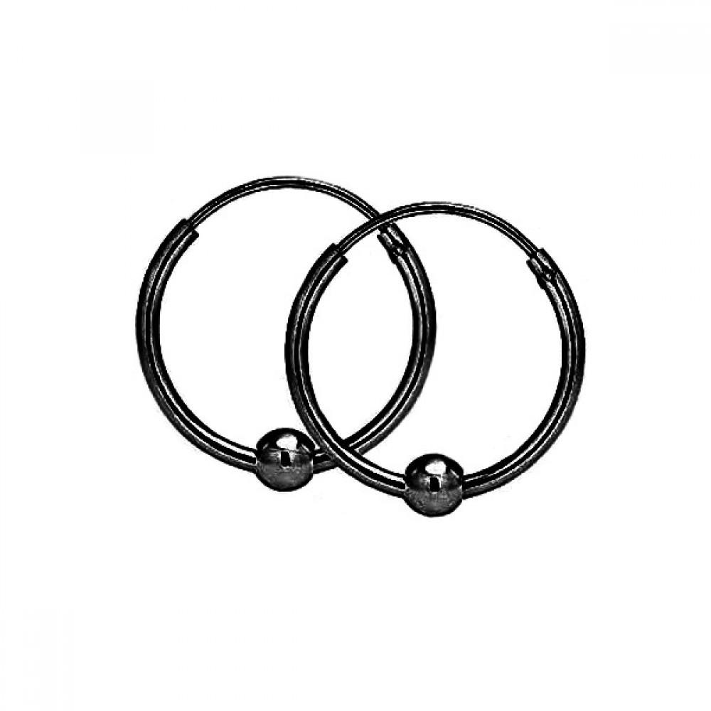 Сережки кільця сталеві чорні з рухомою бусинкою 176335