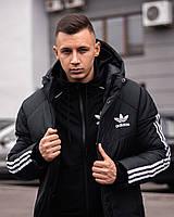 Парка мужская зимняя Adidas Streetz до - 25*С | Куртка мужская Адидас зимняя теплая | Пуховик с капюшоном