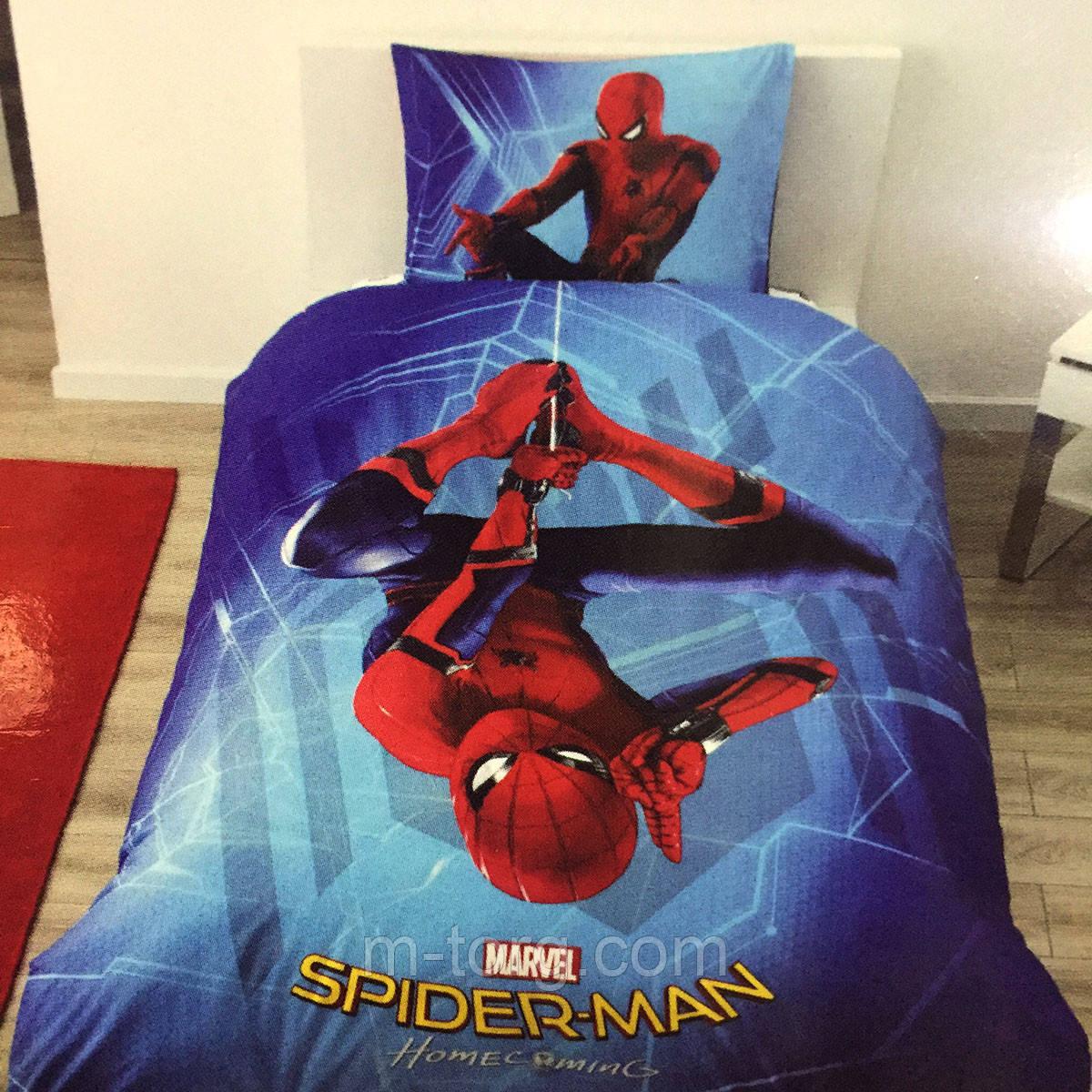 Детское и подростковое постельное белье TAC Disney Spiderman ранфорс / простынь на резинке