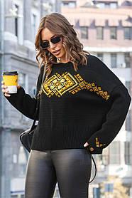 Свободный джемпер в украинском стиле «Этно» черного цвета oversize 44-52