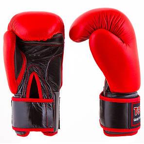 Боксерские перчатки кожаные красные 12oz TopTen, фото 2