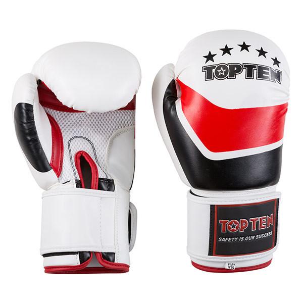 Боксерские перчатки бело-красные 12oz TopTen DX-31