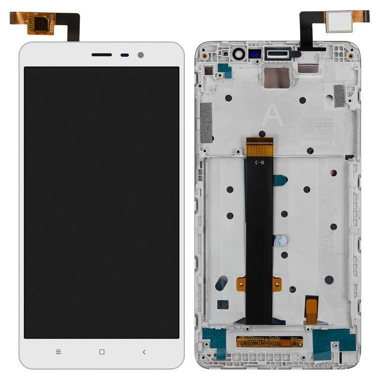 Дисплей (экран) для Xiaomi Redmi Note 3 с сенсором (тачскрином) и рамкой белый