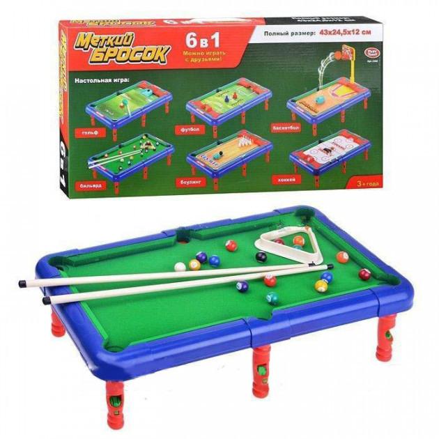 Гра настільна Більярд 6в1 Play Smart в коробці 55х26х5,5см (2266)