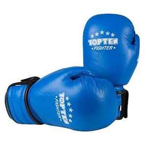 Боксерські рукавички шкіряні сині 8oz TopTen TT-X2, фото 2