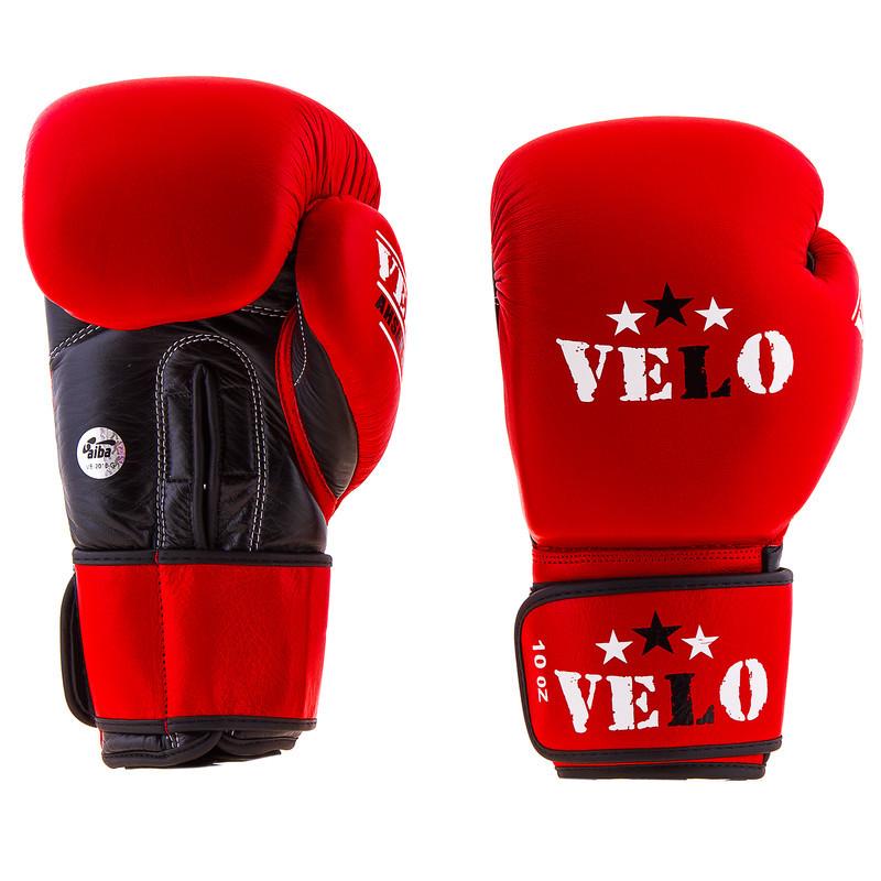 Боксерские перчатки кожаные красные 10oz Velo AIBA