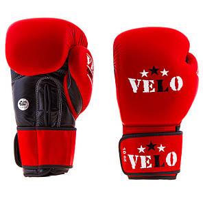Боксерские перчатки кожаные красные 10oz Velo AIBA, фото 2