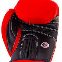 Боксерские перчатки кожаные красные 10oz Velo AIBA, фото 3
