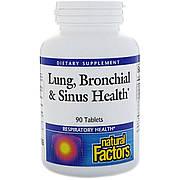 Здоровье Дыхательных Путей, Lung, Bronchial & Sinus Health, Natural Factors, 90 Таблеток