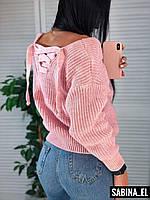 Вязаный свитер свободного фасона с завязками на спине (р. 42 - 46) 7KF931, фото 1