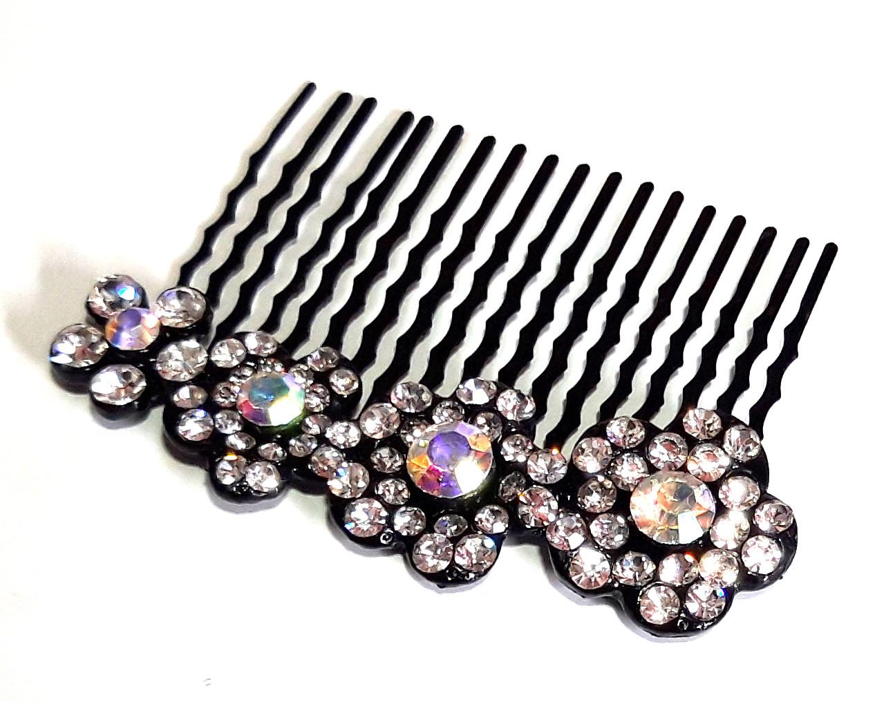 Гребень для волос Fashion сияющие цветы 6,5х5 см, черный