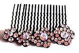 Гребень для волос Fashion сияющие цветы 6,5х5 см, черный, фото 2