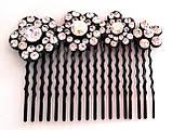 Гребень для волос Fashion сияющие цветы 6,5х5 см, черный, фото 3