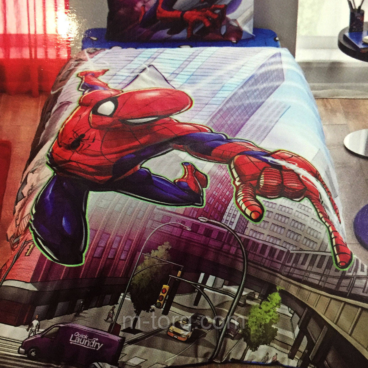 Дитяче та підліткове постільна білизна TAC Disney Spiderman ранфорс / простирадло на гумці