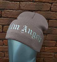 Осенняя трикотажная шапка лопата с подворотом и надписью - вышивкой 12GO268, фото 1